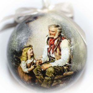 елочный шар дедушка с внучкой