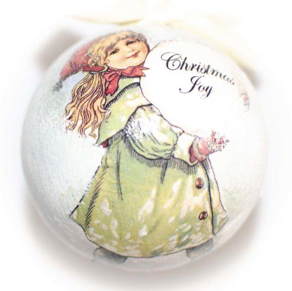 елочный шар девочка со снежным комом