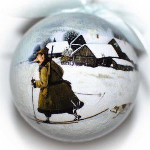 елочный шар лыжник