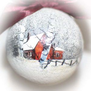 елочный шар домик с березами